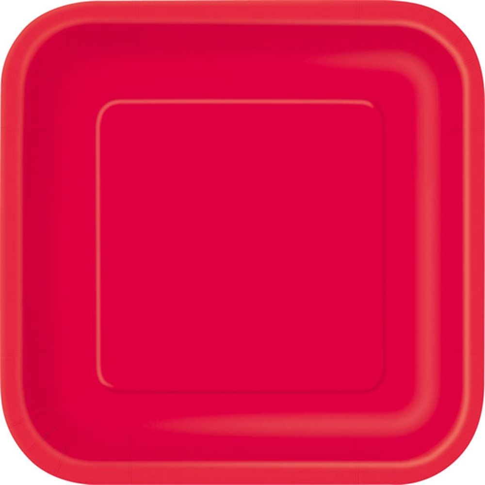 "Picture of 7"" Ruby Red Square Plates"