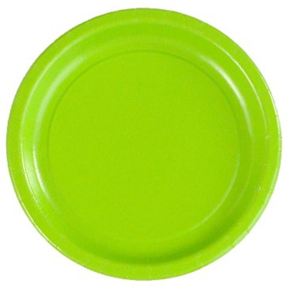 "Picture of 7"" Lime Green Round Plates"