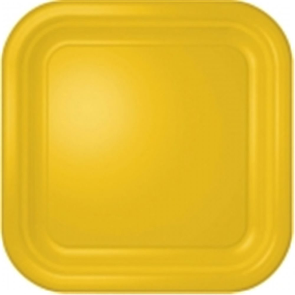 "Picture of 7"" Sunflower Yellow Square Plates"