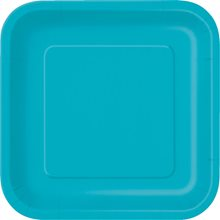 """Picture of 9"""" Caribbean Teal Square Plates"""