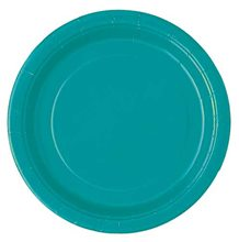 "Picture of 7"" Caribbean Teal Round Plates"