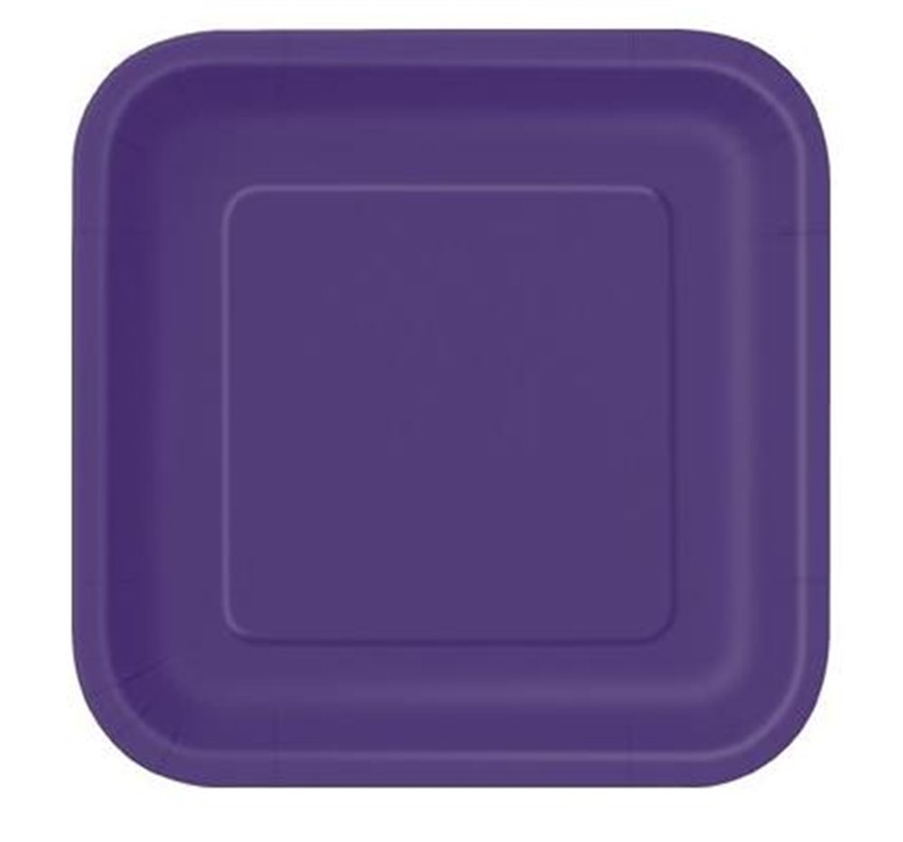 "Picture of 7"" Deep Purple Square Plates"