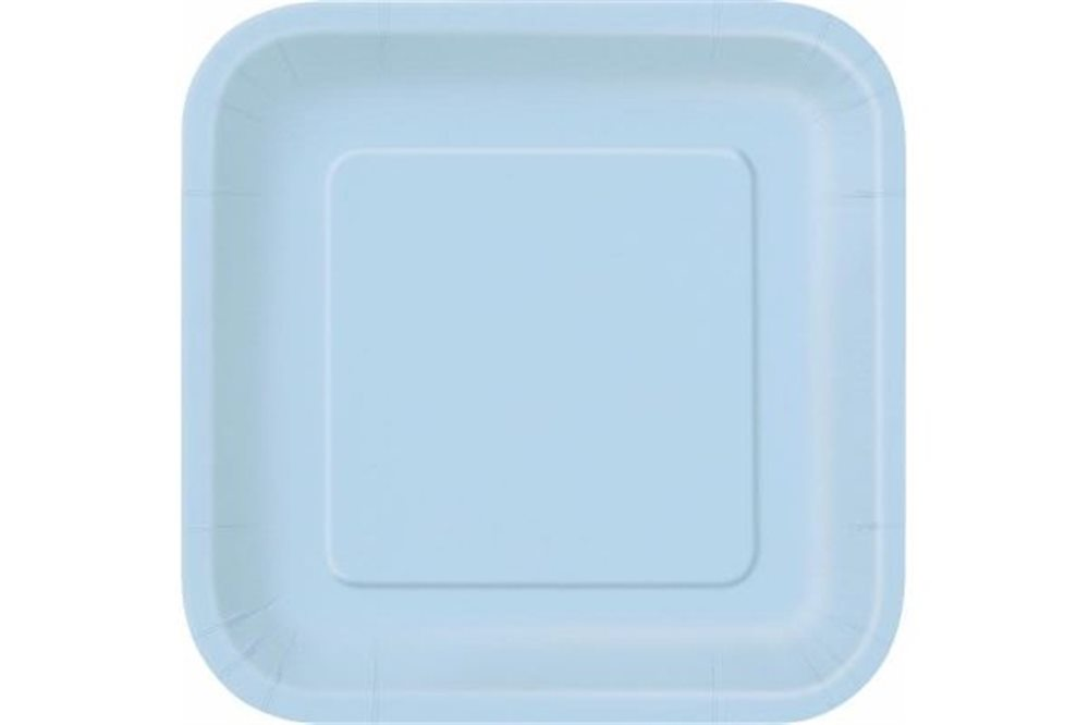 "Picture of 7"" Baby Blue Square Plates"