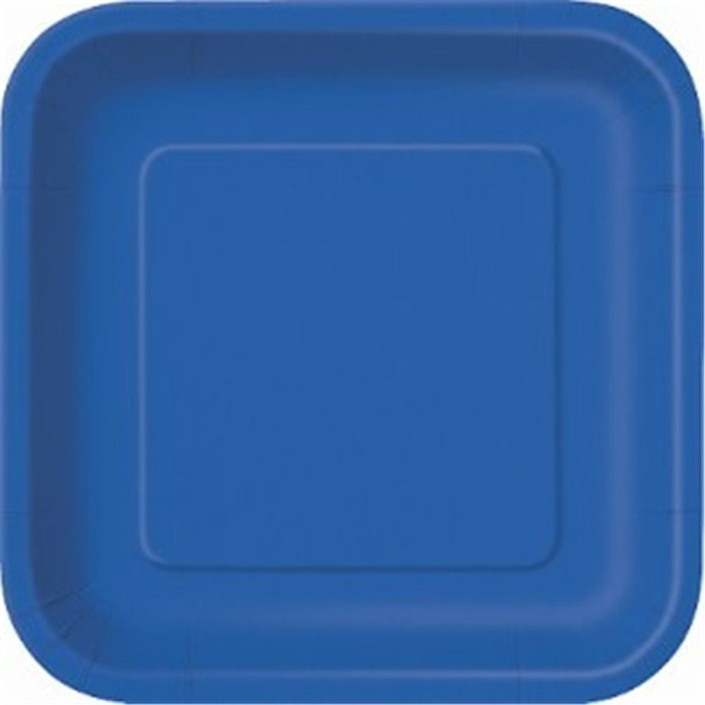 """Picture of 7"""" Royal Blue Square Plates"""