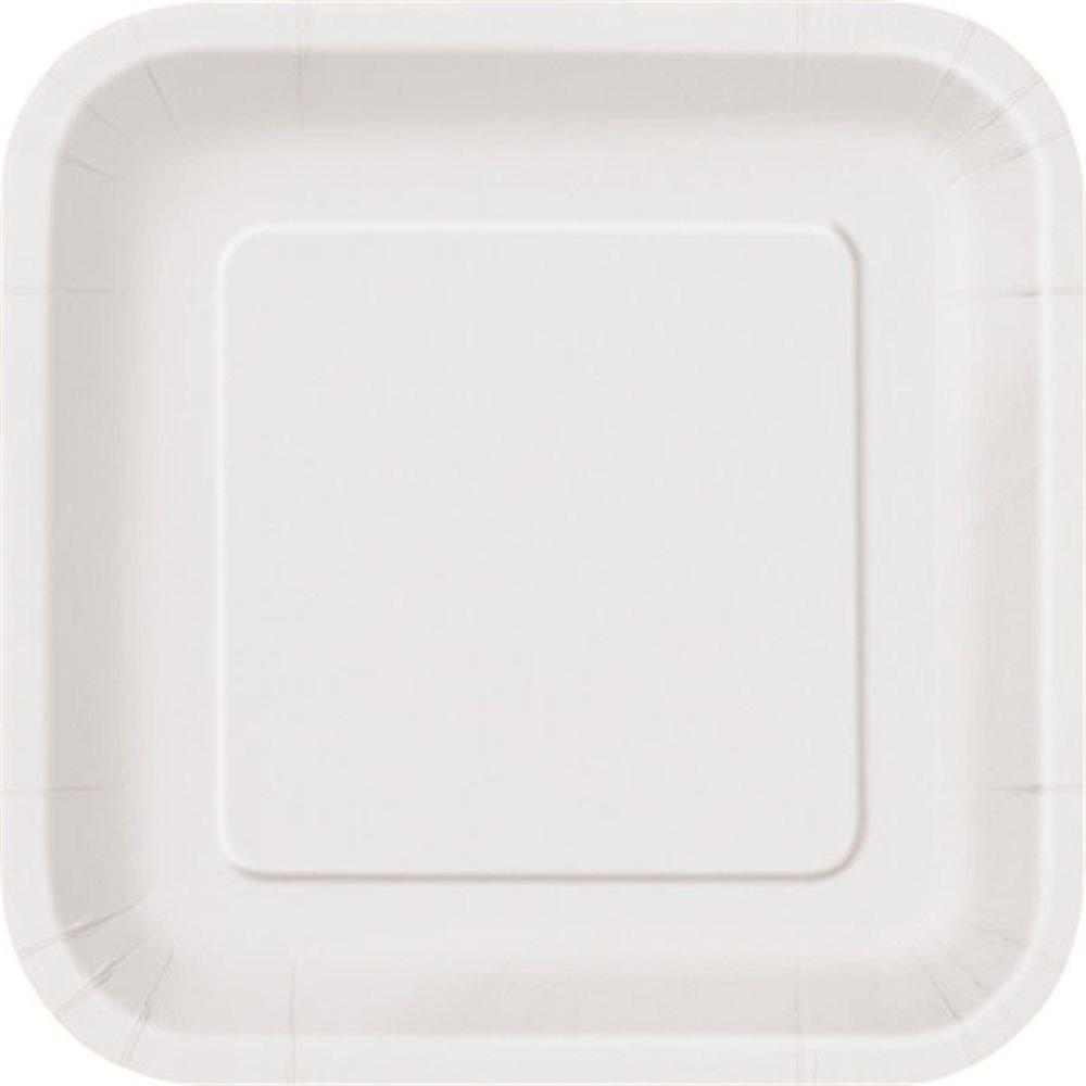 """Picture of 7"""" Bright White Square Plates"""