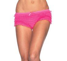 Picture of Neon Pink Lace Ruffle Tanga Shorts