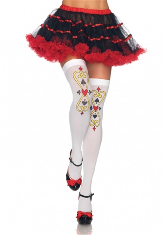 Picture of Royal Scroll Card Womens Thigh Highs