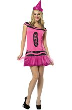 Picture of Crayola Pink Crayon Shimmering Dress Adult Womens Costume