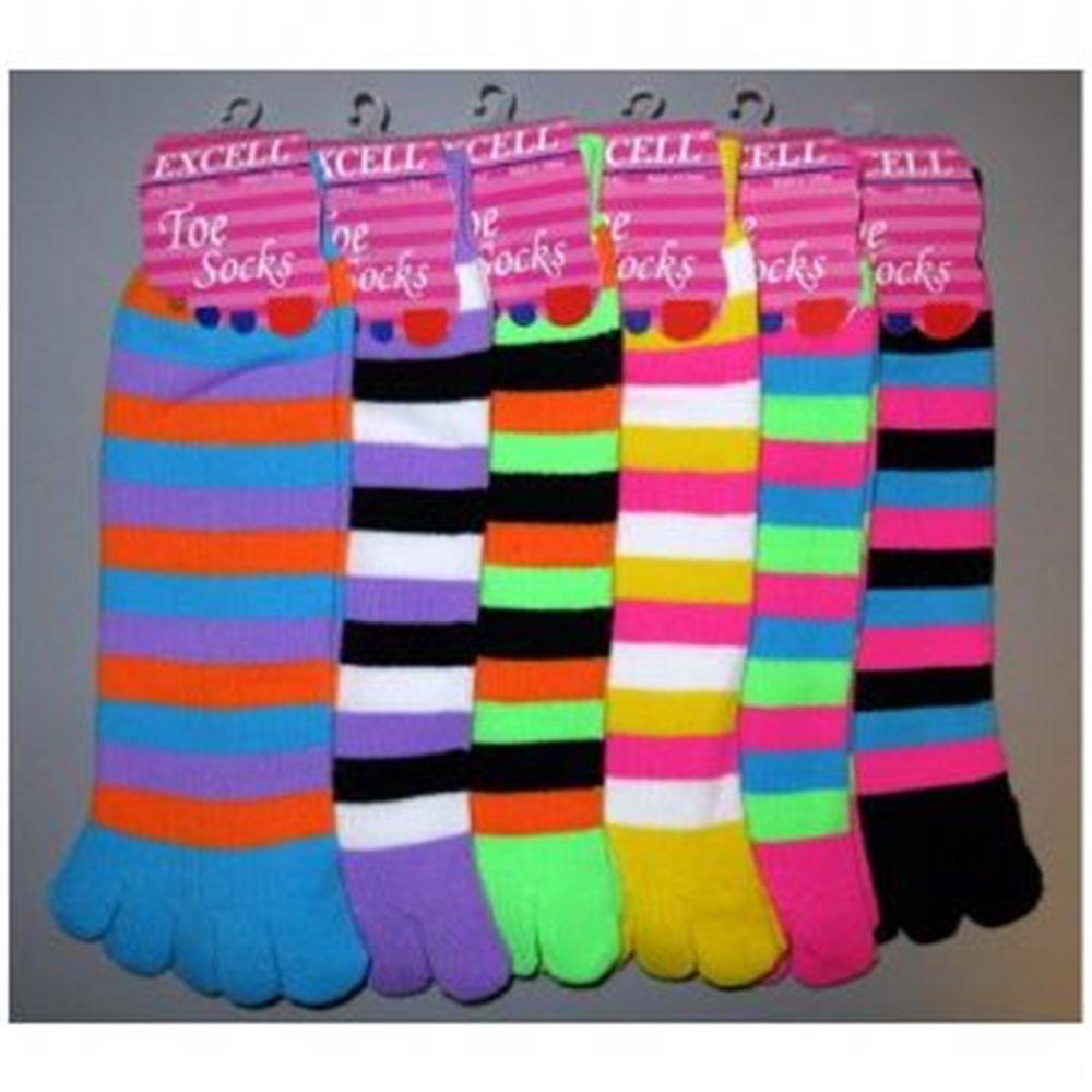 Picture of Ladies Strip Neon Toe Sock