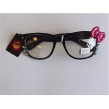 Picture of Black Kitty Whisker Sunglasses with Stoned Pink Bow