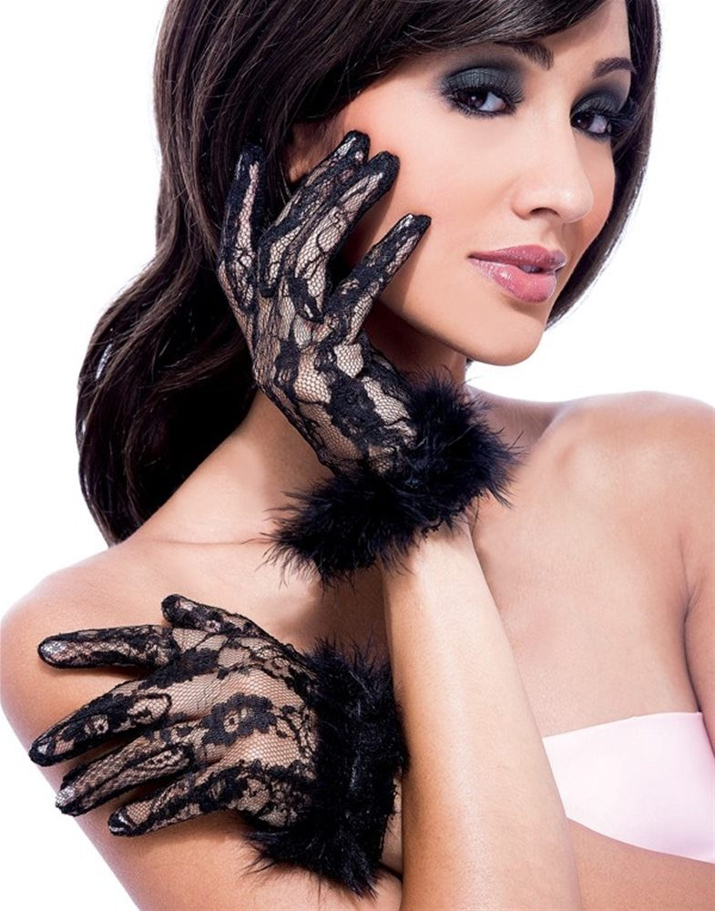 Picture of Short Lace & Marabou Gloves