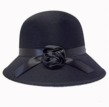 Picture of Black Satin Cloche Hat