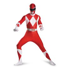 Picture of Red Power Ranger Deluxe Adult Mens Bodysuit