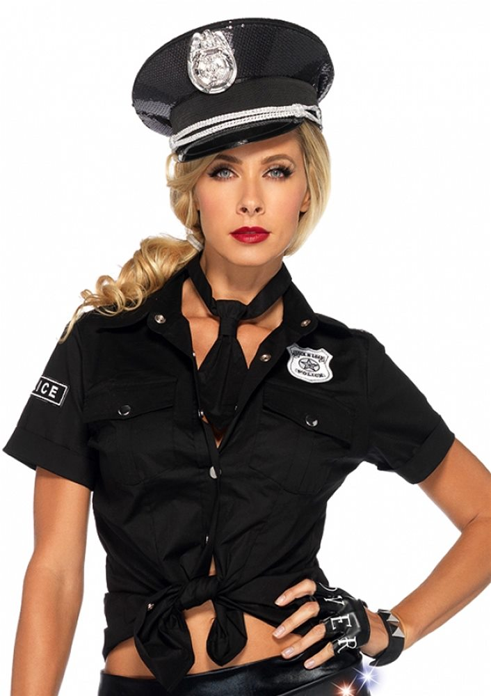 Picture of Police Tie Front Adult Womens Shirt