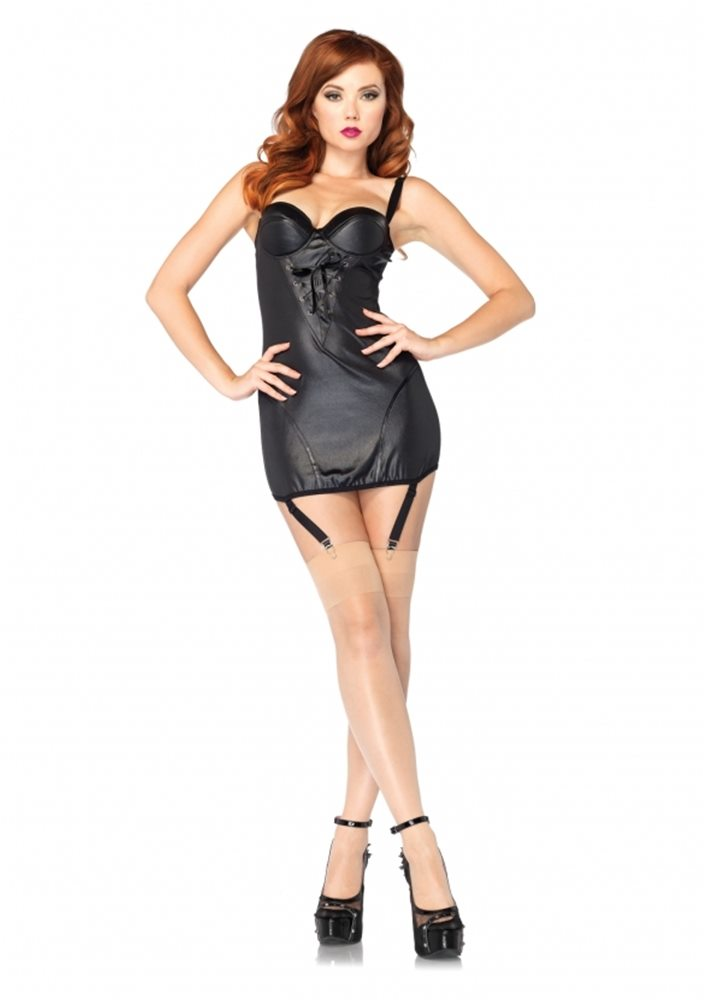 Picture of Wet Look Garter Dress Adult Womens Costume