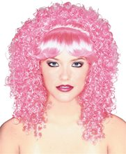 Picture of Pink Curly Hair Womens Wig