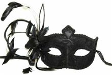 Picture of Venetian Lace Feather Flower Mask