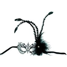 Picture of Metal Venetian Feathers Black Mask