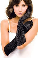 Picture of Black Ruffle Adult Womens Gloves