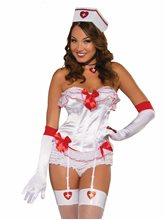 Picture of White Nurse Corset Top With Red Bows