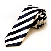 Picture of Black and White Striped Tie
