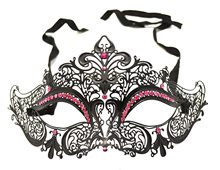 Picture of Black Metal Venetian With Hot Pink Crystals Mask