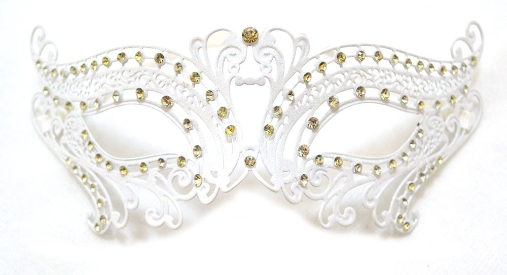 Picture of White Metal Venetian Mask with Faux Diamonds