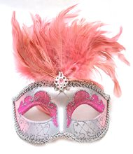 Picture of Venetian Pink & Silver Mask with Short Feathers