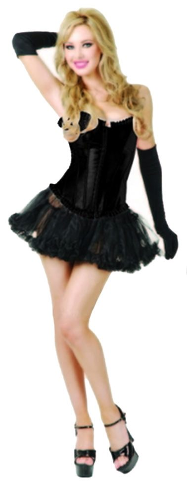 Picture of Black Satin Adult Womens Corset & Thong