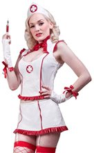 Picture of Night Nurse Sexy White & Red Adult Womens Costume