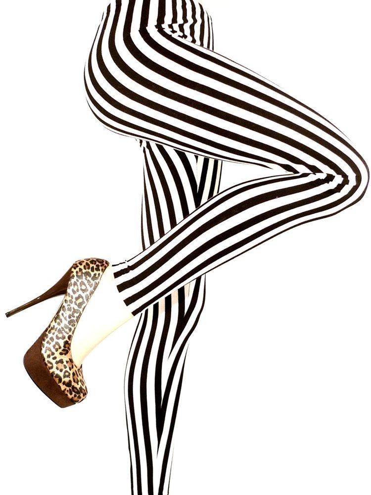 Picture of Black & White Striped Leggings