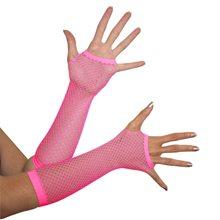 Picture of Neon Pink Triangle Net Fingerless Gloves