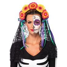 Picture of Day of the Dead Flower Headband with Lace Veil