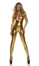 Picture of Metallic Mock Neck Zipfront Catsuit Adult Womens Costume