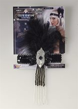 Picture of Roaring 20s Deluxe Flapper Black & Silver Headband