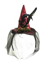 Picture of Mini Burgundy Satin Witch Hat Headband