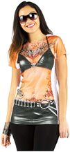 Picture of Tattooed Biker Adult Womens T-Shirt