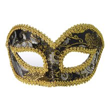 Picture of Black & Gold Venetian Mask with Comfort Arms