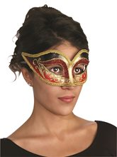 Picture of Black & Red Venetian Mask with Comfort Arms
