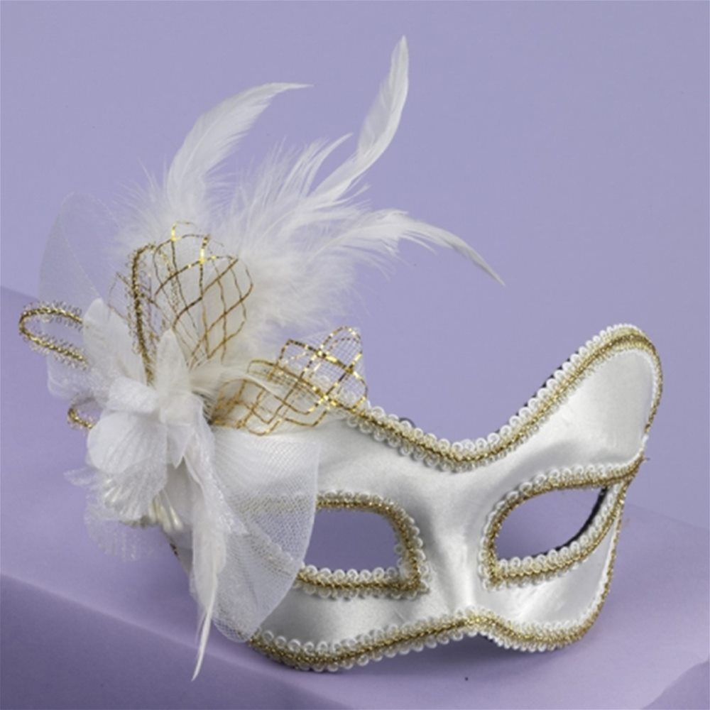 Picture of Satin Feathered Mask with Comfort Arms (More Colors)