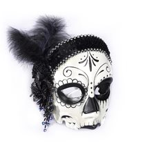 Picture of Day of the Dead Female Flapper Mask with Comfort Arms