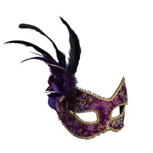 Picture of Purple Feathered Mask with Comfort Arms