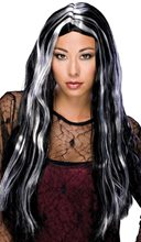 Picture of Black & Silver Long Witch Wig