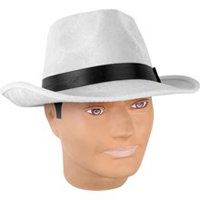 Picture of Velvet White Gangster Fedora with Black Band