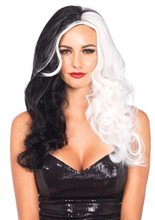 Picture of Black and White Long Wavy Villain Wig