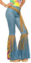 Picture of Hippie Bell Bottom Adult Womens Pants With Belt