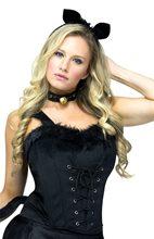 Picture of Black Velvet & Fur Adult Womens Corset