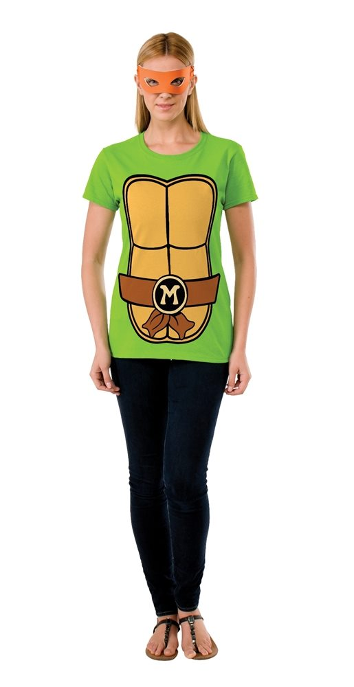 Picture of TMNT Michelangelo Adult Womens T-Shirt & Mask Set