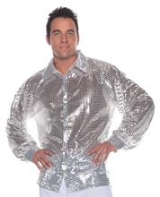 Picture of Silver Sequin Disco Adult Mens Shirt