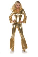 Picture of Gold Disco Hot Pants Jumpsuit Adult Womens Costume